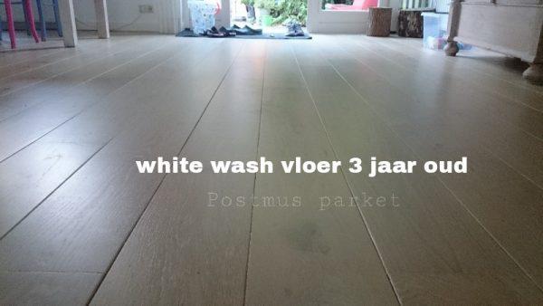 White wash vloer 3 jaar oud met een beschermde laklaag